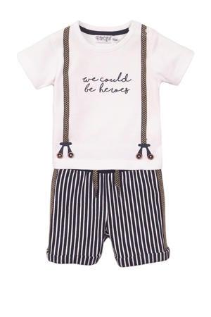 T-shirt + korte broek wit/blauw
