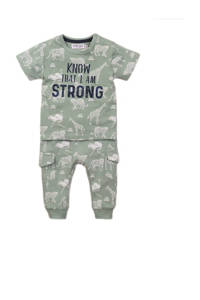 Dirkje newborn baby T-shirt + broek dierenprint mintgroen, Mintgroen/wit