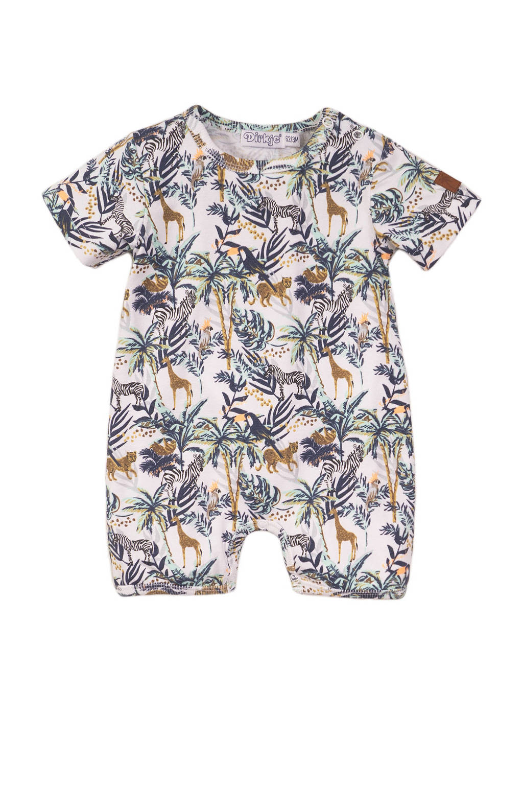 Dirkje baby boxpak met dierenprint blauw/wit/beige, Blauw/wit/beige