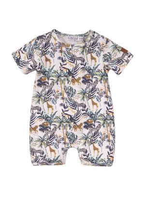 baby boxpak met dierenprint blauw/wit/beige