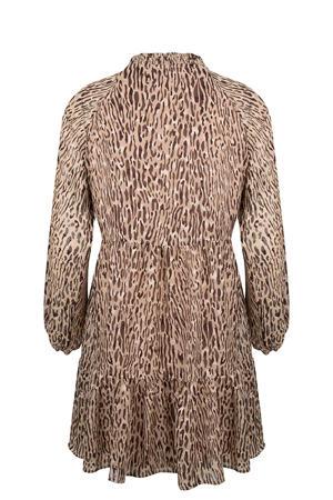 semi-transparante jurk met dierenprint en volant lichtbruin/bruin/wit