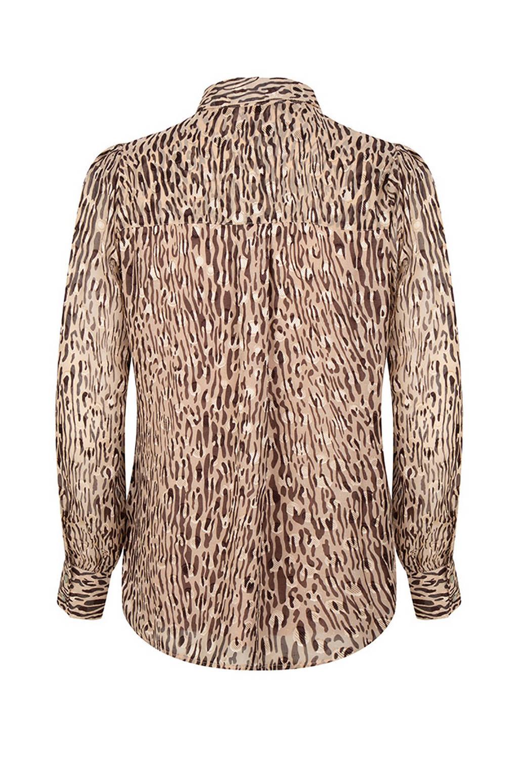 Esqualo semi-transparante blouse met dierenprint lichtbruin/bruin/zwart, Lichtbruin/bruin/zwart