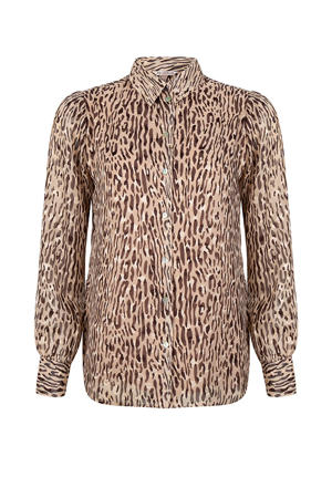 semi-transparante blouse met dierenprint lichtbruin/bruin/zwart