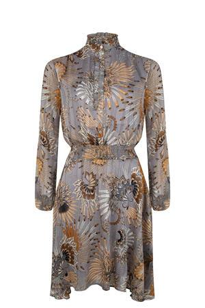 blousejurk met all over print en glitters grijs/beige/wit
