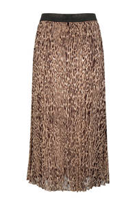 Esqualo semi-transparante rok met panterprint en glitters bruin/beige/zwart, Bruin/beige/zwart