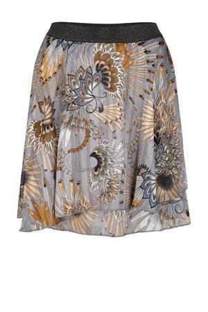 semi-transparante rok met glitters grijs/beige/ecru