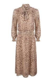 Esqualo semi-transparante maxi jurk met dierenprint en volant lichtbruin/bruin/zwart, Lichtbruin/bruin/zwart