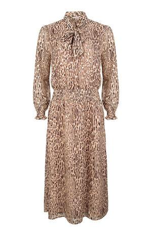 semi-transparante maxi jurk met dierenprint en volant lichtbruin/bruin/zwart