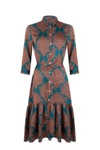 Esqualo blousejurk met all over print en plooien petrol/roodbruin, Petrol/roodbruin