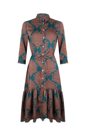 blousejurk met all over print en plooien petrol/roodbruin