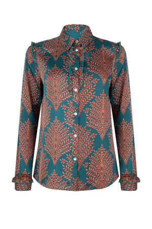 geweven blouse met all over print en ruches petrol/roodbruin/zeegroen