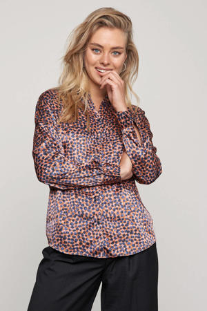 blouse Blue Dots met all over print camel/donkerblauw/lichtroze