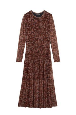 semi-transparante jurk Caramel Spots met all over print zwart/roodbruin