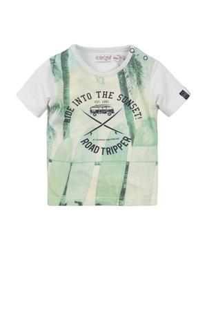 T-shirt met all over print lichtgroen/lichtgeel/wit