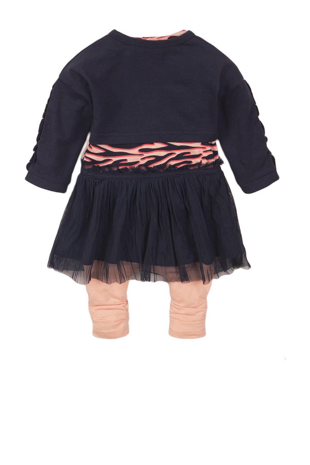 Dirkje baby jurk + legging met all over print en plooien donkerblauw/lichtoranje, Donkerblauw/lichtoranje