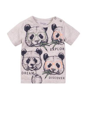 T-shirt met dierenprint grijs melange/zwart