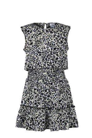 jurk French met all over print zwart/offwhite/paars