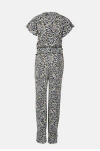 Jill & Mitch by Shoeby geribde jumpsuit French met panterprint zwart/offwhite/paars, Zwart/offwhite/paars