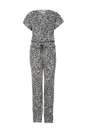 geribde jumpsuit French met panterprint zwart/offwhite/paars