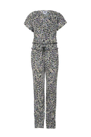 geribde oversized jumpsuit French met panterprint zwart/offwhite/paars