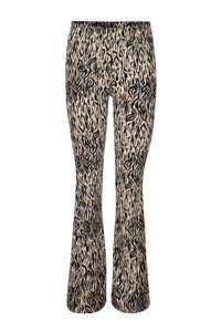 Jill & Mitch by Shoeby flared broek Fallon met dierenprint beige/zwart/bruin, Beige/Zwart/Bruin