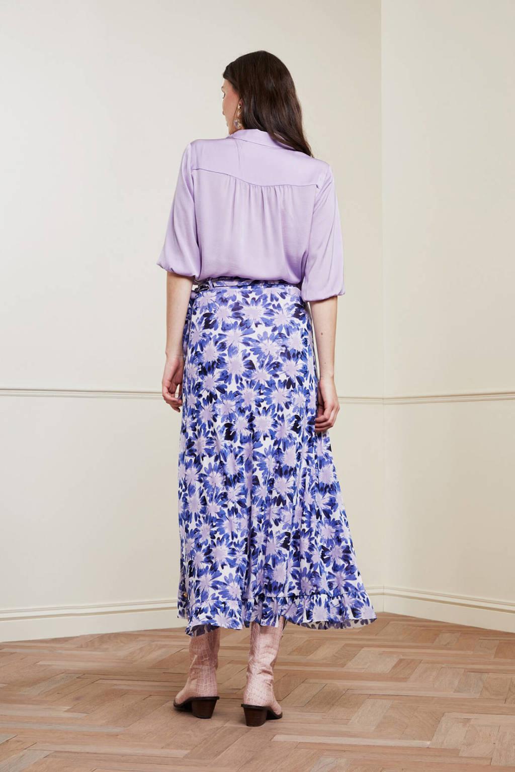 Fabienne Chapot gebloemde rok Bobo van gerecycled polyester lila, Lila