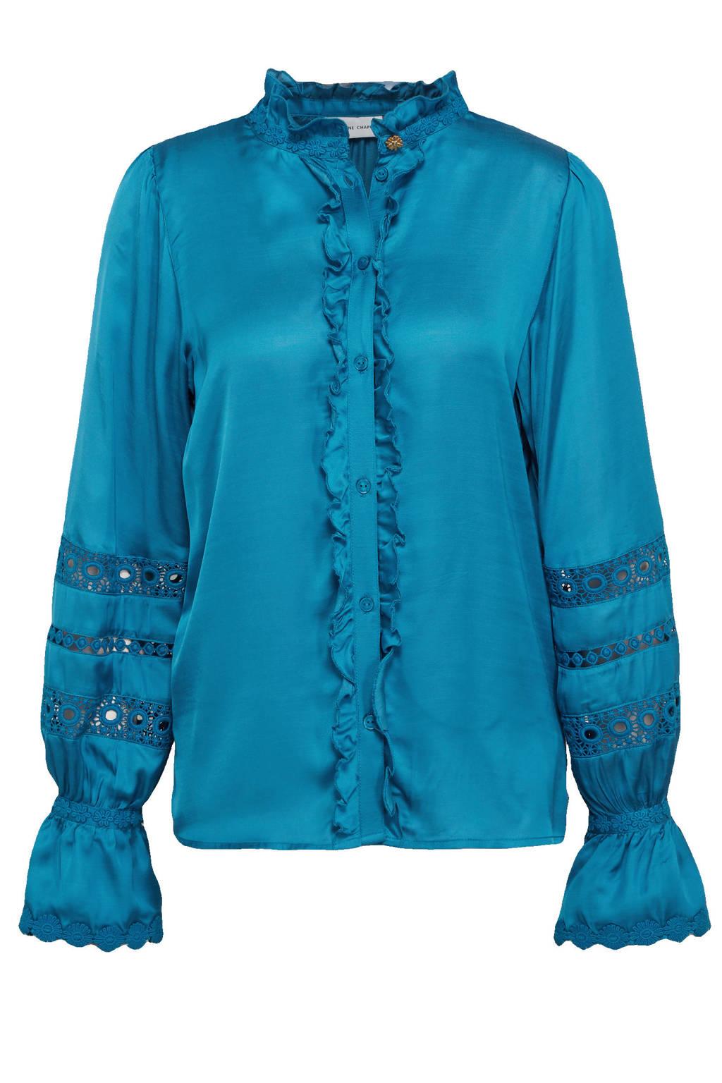 Fabienne Chapot blouse Boho met ruches blauw, Blauw