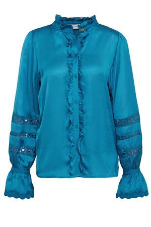 blouse Boho met ruches blauw