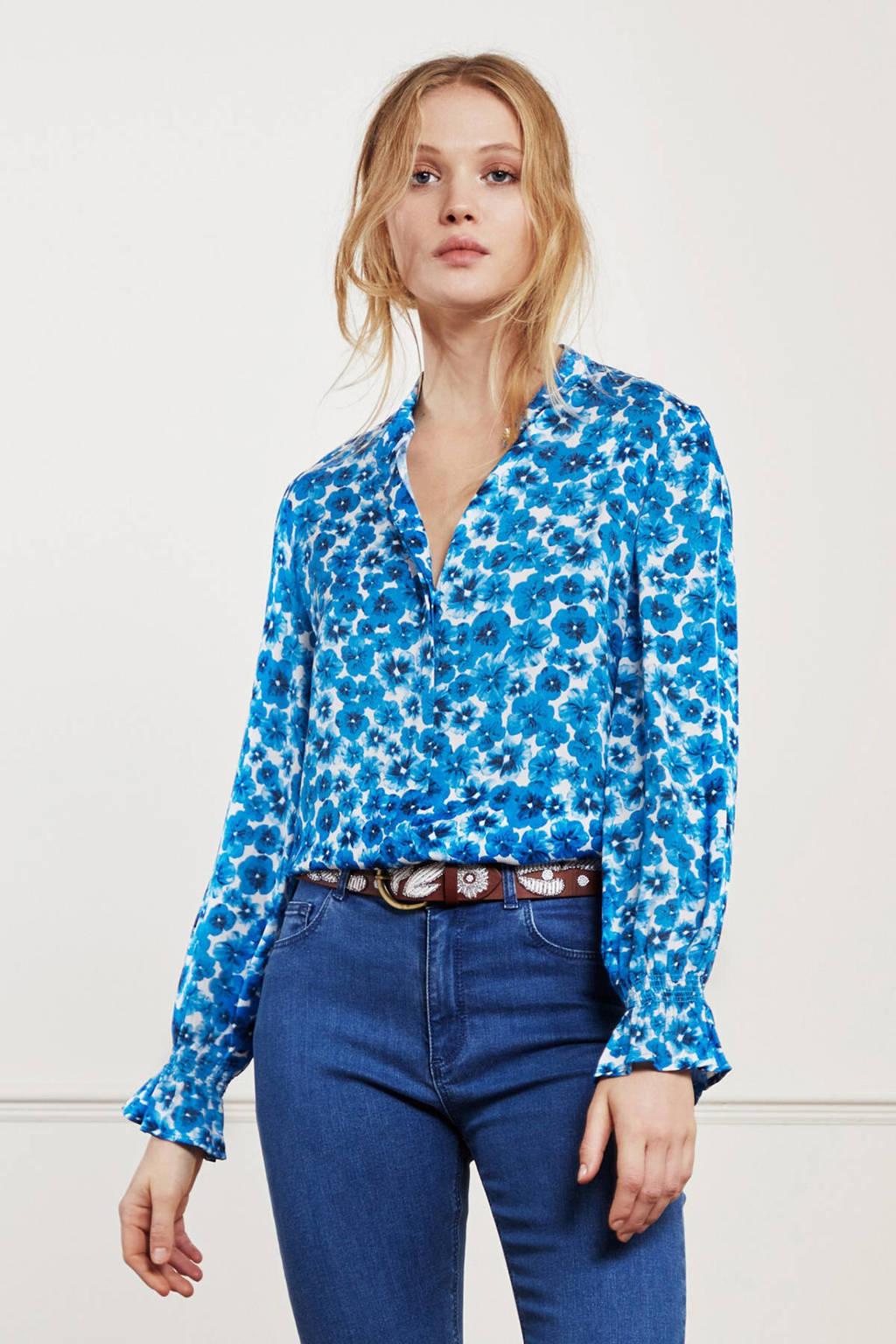 Fabienne Chapot gebloemde blouse Studio blauw, Blauw