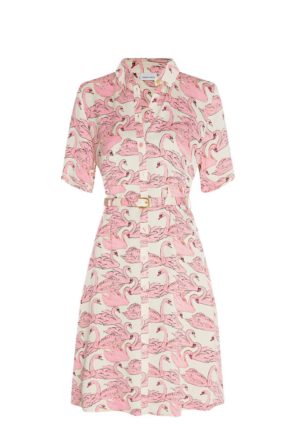 Fabienne Chapot blousejurk Mila met all over print en ceintuur lichtroze, Lichtroze