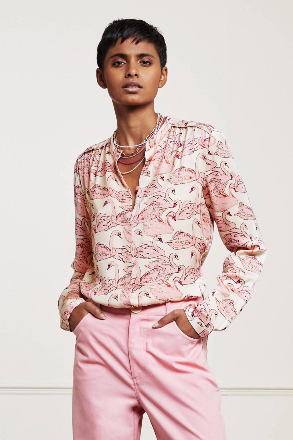 Fabienne Chapot blouse Sunset met all over print en plooien lichtroze, Lichtroze