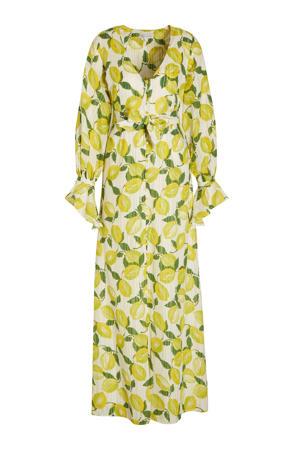 maxi jurk Outshine The Bride met all over print en glitters lichtgeel/ groen