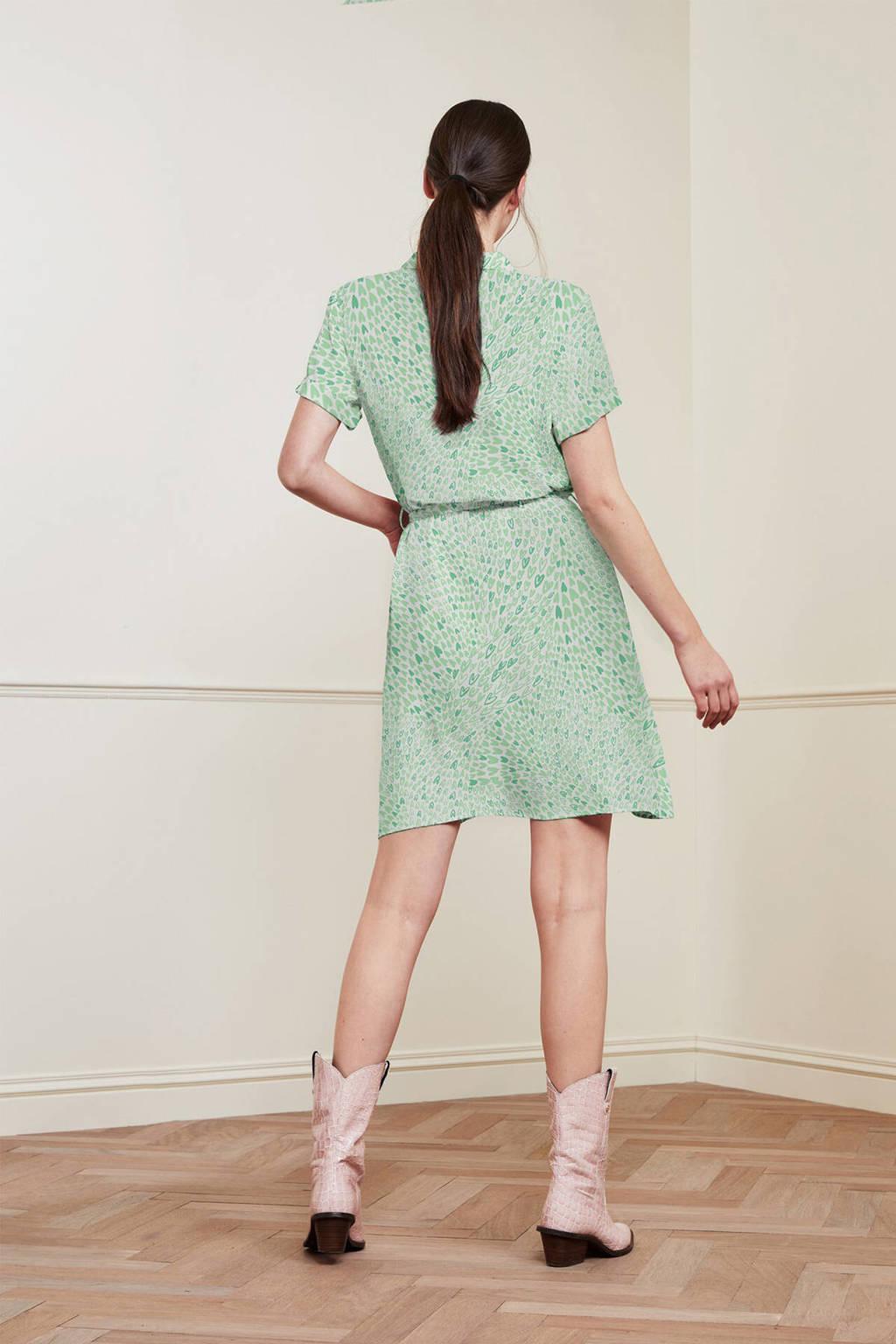 Fabienne Chapot blousejurk Boyfriend Tess met all over print en ceintuur lichtgroen, Lichtgroen