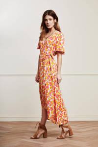 Fabienne Chapot wikkeljurk Archana Sleeve Cato met all over print en ruches roze/ geel, Roze/ geel