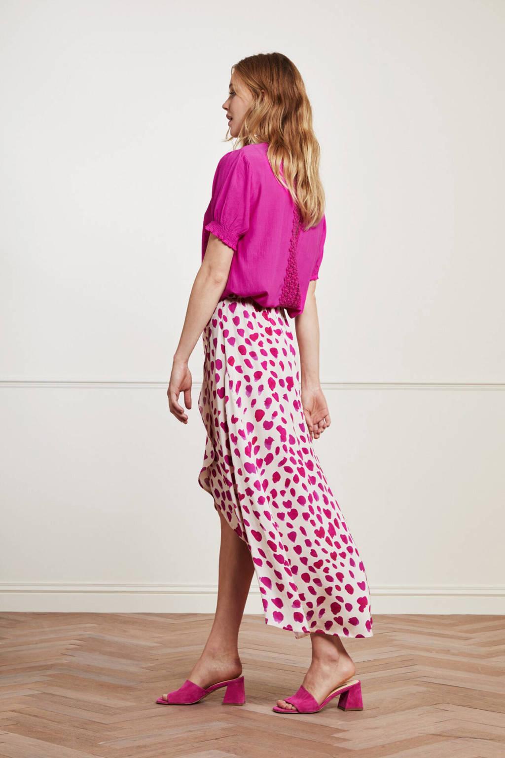 Fabienne Chapot rok Cora met all over print gebroken wit/ roze, Gebroken wit/ roze