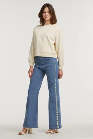 loose fit jeans Eva met borduursels light blue