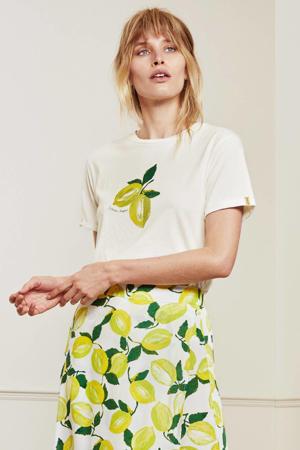 T-shirt Romy Lime van biologisch katoen gebroken wit/ geel