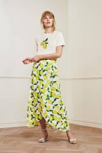 Fabienne Chapot T-shirt Romy Lime van biologisch katoen gebroken wit/ geel, Gebroken wit/ geel