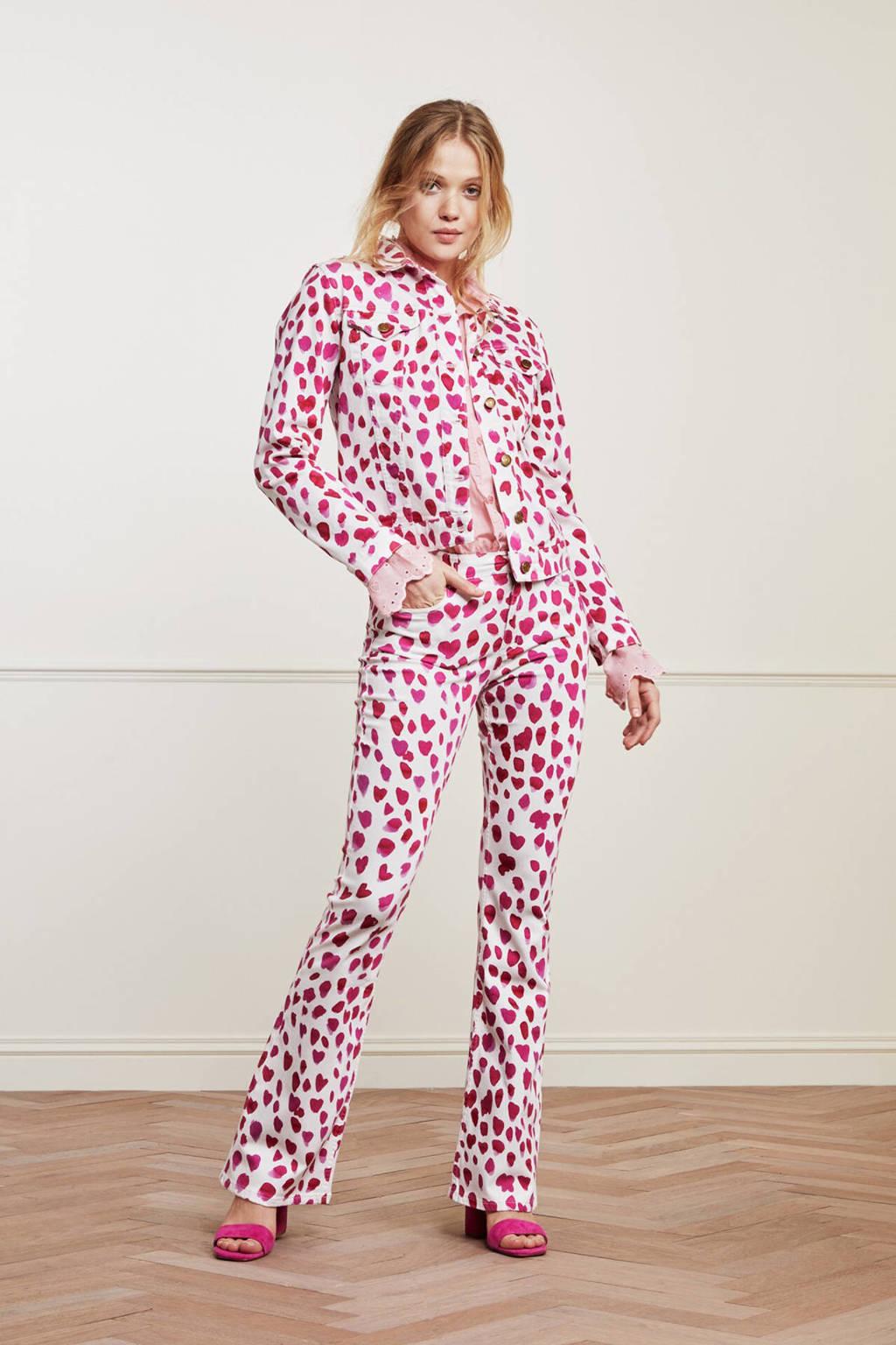Fabienne Chapot flared broek Eva met all over print wit/ roze, Wit/ roze