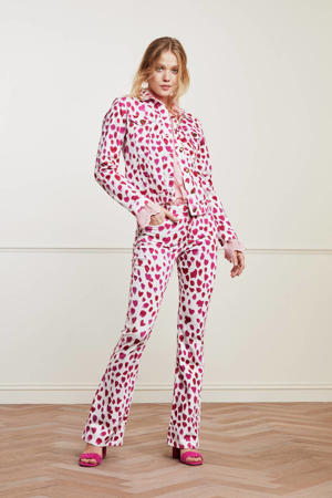 flared broek Eva met all over print wit/ roze