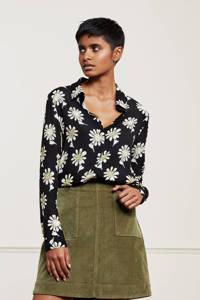 Fabienne Chapot gebloemde blouse Perfect zwart/wit/olijfgroen, Zwart/wit/olijfgroen