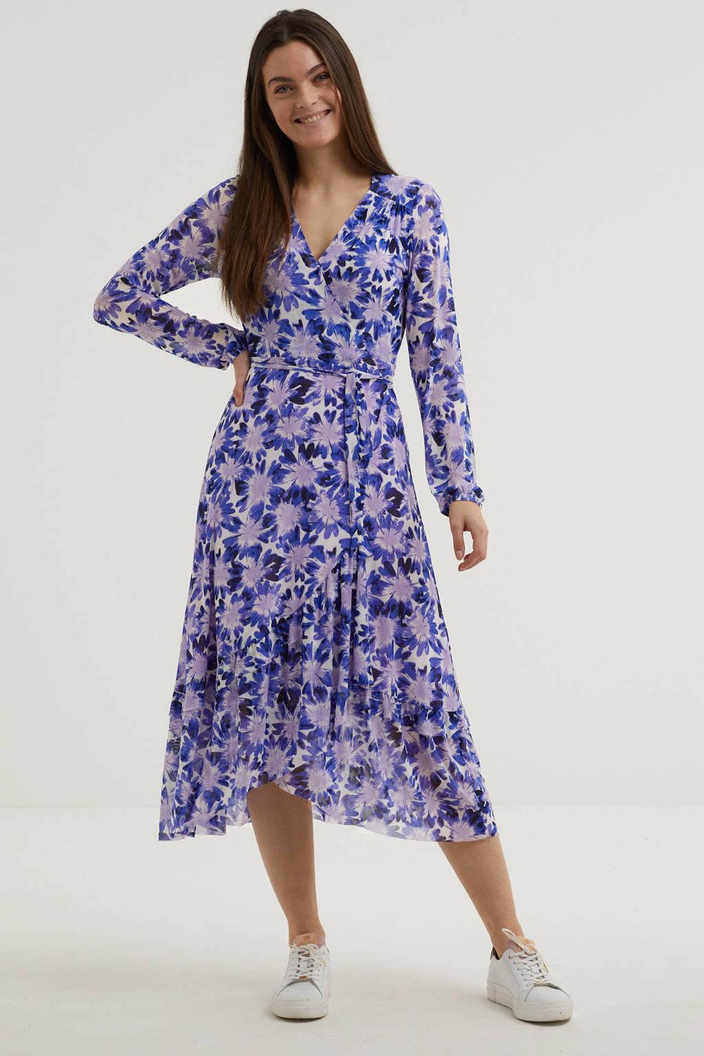 Fabienne Chapot maxi jurk Natasja Frill van gerecycled polyester paars, Blauw