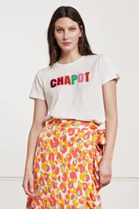 Fabienne Chapot T-shirt Terry met tekst en 3D applicatie gebroken wit, Gebroken wit