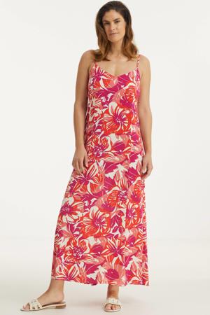 gebloemde maxi jurk Sunny roze/ zalm