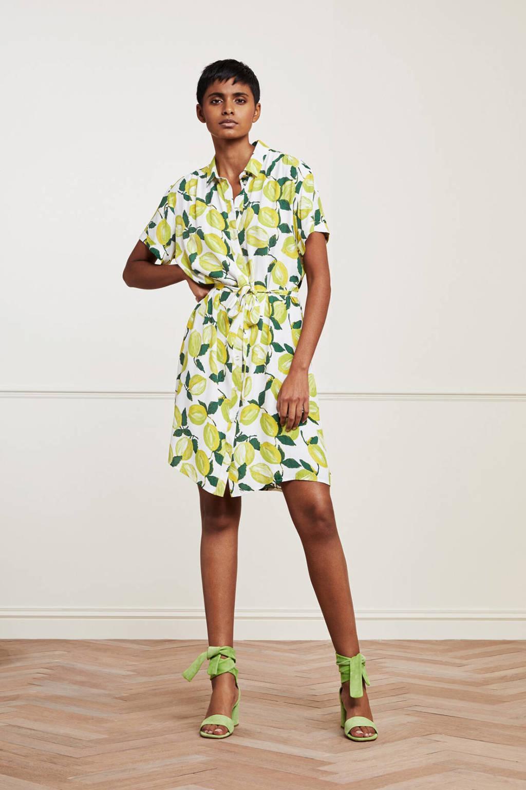 Fabienne Chapot blousejurk Boyfriend Tess met all over print en ceintuur geel/ groen, Geel/ groen