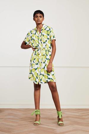blousejurk Boyfriend Tess met all over print en ceintuur geel/ groen