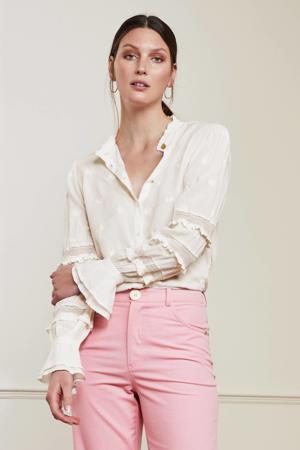 blouse Leo Isa met borduursels gebroken wit