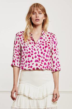geweven blouse Gina Cato met all over print gebroken wit/ roze
