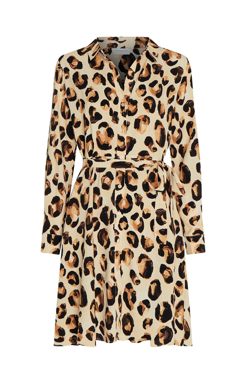 Fabienne Chapot blousejurk Dorien met dierenprint lichtgeel/bruin/zwart, Lichtgeel/bruin/zwart