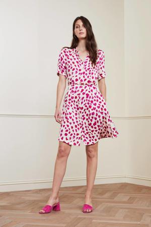 blousejurk Mila met all over print en ceintuur gebroken wit/ roze